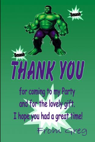 Personalised Hulk Thank You Cards